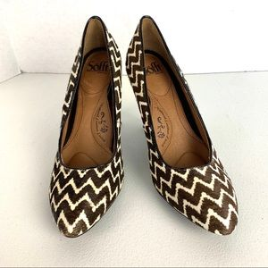Sofft Moselle Calf Hair brown Zigzag Pump size 9